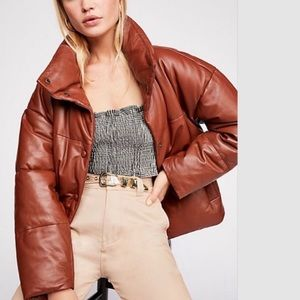 Free People Puffy Leather Brown Jacket